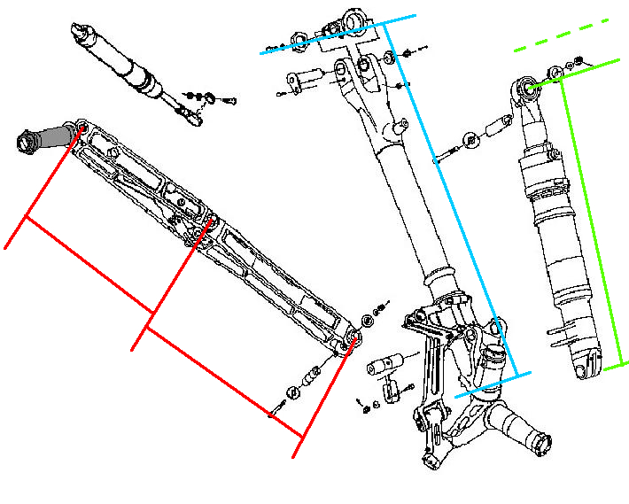 Y)F16 Landing Gear - parts and hinge location dimensions - F