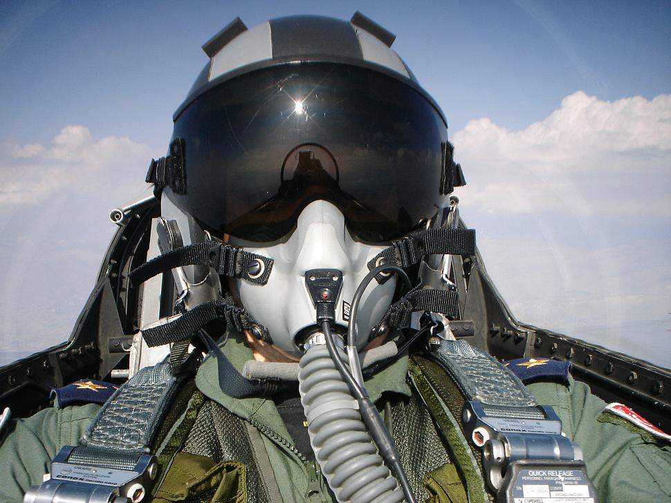 F 16 Helmet A self portrait of a young
