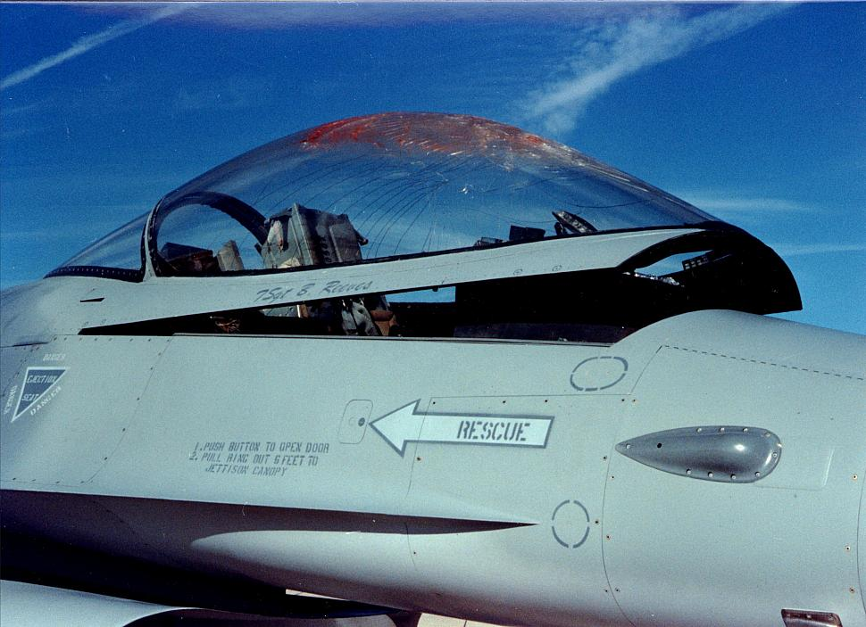 USAF F 16 Canopy After A Bird Strike Details Are Unknown But Clearly The Pilot Landed Safely Need To Identify Aircraft Serial Number And Date